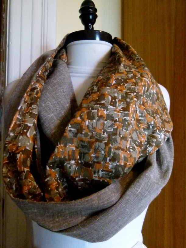 vintage abstract print & mocha linen infinity scarf